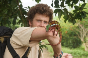 Holding a panther chameleon outside of Marojejy national park