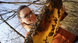 Julia working with her bees