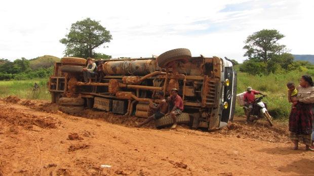 A big truck that had fallen over
