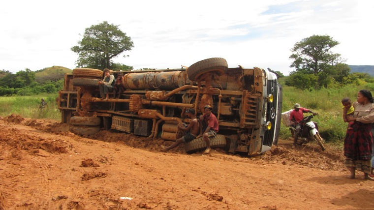 A big truck that had fallen over