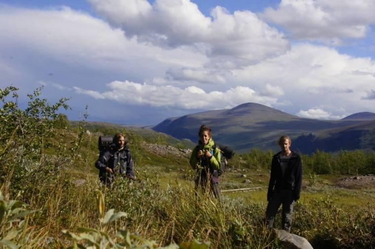 Joel Brenda and Wilhelm hiking in Swedish Lapland summer 2013